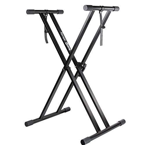 RockJam Xfinity para trabajo pesado, doble X, premontado, soporte para teclado de piano infinitamente ajustable con correas de bloqueo