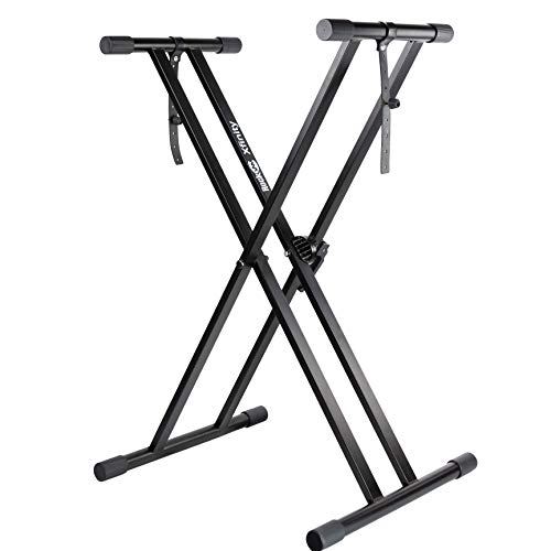 RockJam Xfinity Heavy-Duty, Double-X, Pre-Assembled, Infinitely Adjustable Piano Keyboard Stand with Locking Straps (Caps Controller Dj)