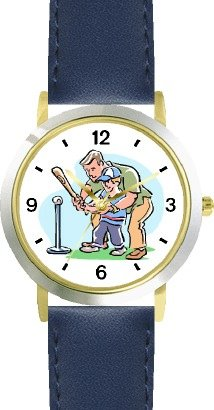 Father Teaching Son how to Bat Baseball Theme - WATCHBUDDY DELUXE TWO-TONE THEME WATCH - Arabic Numbers - Blue Leather Strap-Children's Size-Small ( Boy's Size & Girl's Size )