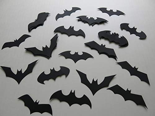 Black Bats Table Scatter, Halloween Party Confetti 2.5-3 Inch, 24 Piece Set, Mixed Styles, Bat Die Cut Out -