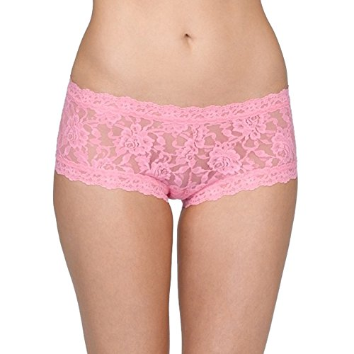 Hanky Panky Womens Signature Lace Boyshort in Glo Pink Size X-Small