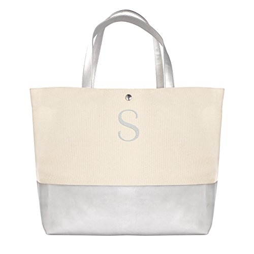 [Cathy's Concepts Personalized Metallic Dipped Tote Bag, Silver, Letter S] (Bridal Embroidered Tote)