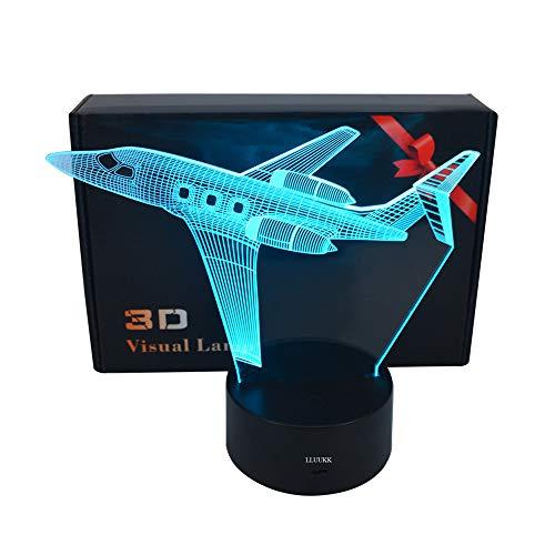 LLUUKK Visual 3D Desk Lamp Airplane Aircraft Plain toys Table decoration household accessories Kids gift boys festival