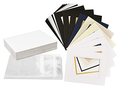 Golden State Art, Pack of 25 Complete Set, Mix Colors 8x10 Double Mat for 5x7 Photo Pictures with White Core Bevel Cut Mattes. Includes 25 Acid Free Double Mats & 25 Backing Board & 25 Clear Bags Double Acid Free Mat