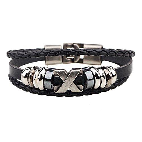 Ac Union Cross Charm Handmade Stainless Steel Leather Bracelet Friendship Gift for Men - Cross