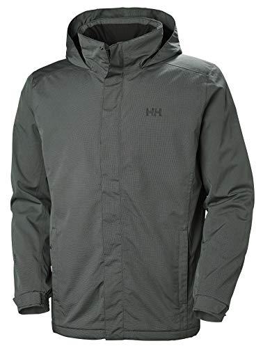 Helly Hansen Men's Dubliner Waterproof Breathable Insulated Packable Hood Rain Coat Jacket, 991 Black Melange, Large (Helly Hansen Winter Coat Men)