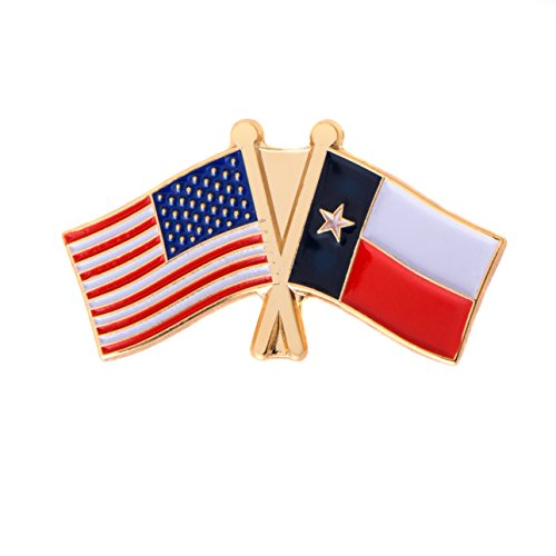 Texas TX State Double Flag Lapel Pin Enamel with United States USA US Made of Metal Souvenir Hat Men Women Patriotic (Double Lapel Pin)