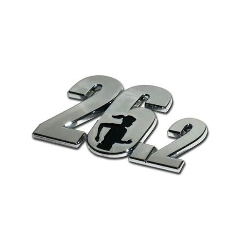 Marathon ''26.2'' Premier Chrome Metal Auto Emblem - w/ Running Lady by MVP Accessories