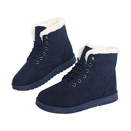 GoMotion Women's Winter Warm Snow Boots Flats Lace up Leather Short Ankle Boot Dark Blue 7 by GoMotion