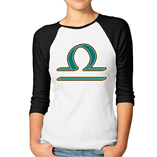 (DonSir Libra The Scales Women Round Collar Raglan Tshirt Black L )