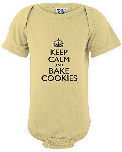 (shirtloco Baby Keep Calm and Bake Cookies Infant Bodysuit, Banana 12 Months)
