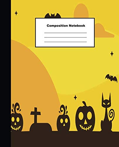 Composition Notebook: Yellow Tone Halloween Mansion and Tombstones Wide Ruled Paper -