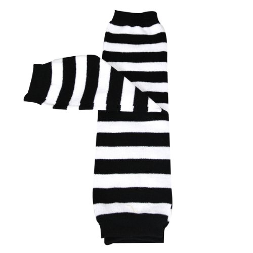 Wrapables Stars, Stripes, and Solids Colorful Baby Leg Warmers - Stripes Black & White ()
