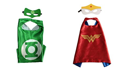 Green Lantern & Wonder Woman Costumes - 2 Capes, 2 Masks w/Gift Box by Superheroes (Green Lantern Womens Costume)