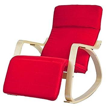 SoBuy sillón de relada, Silla de relada, mecedora, con Organizador colgante, rojo, FST16-R,ES (Rojo)