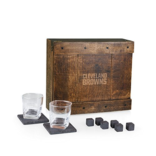 - PICNIC TIME NFL Cleveland Browns Whiskey Box Gift Set with Service for Two