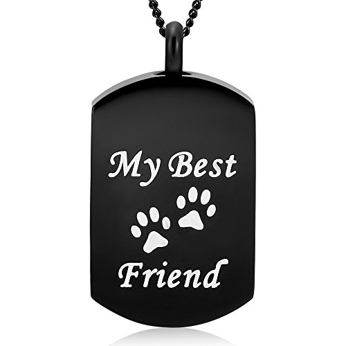 Carved Logo Pendant - Yinplsmemory My Best Friend Dog/Cat Paw Carved Cremation Ashes Necklace Urn Pendant Pet Keepsake (Black)