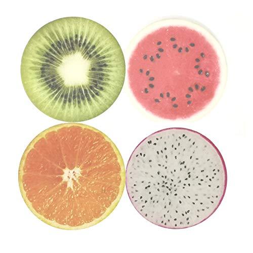 Fruit Fresh Slices - SUPCOW Coasters for Drinks 4 Piece Funny Absorbent Stone Ceramic Set, Fresh Kiwi Dragon Fruit Watermelon Orange Slices Coaster for Drink with Cork Backing Fruit Slice