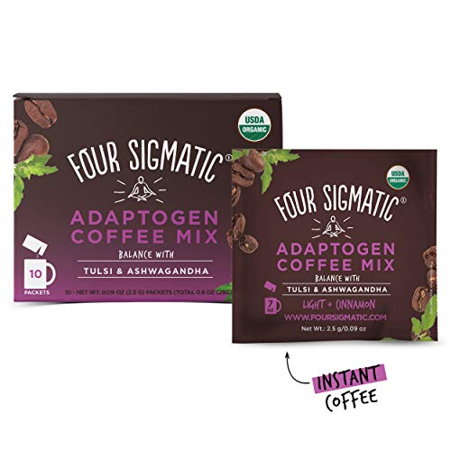 (Four Sigmatic Adaptogen Coffee - USDA Organic Coffee with Tulsi & Astragalus - Organic, Vegan, Paleo - Hack Stress - 10 Count)