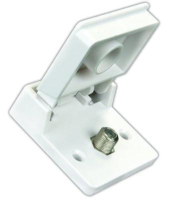 JR Products 47755 Polar White Exterior Weatherproof TV Jack