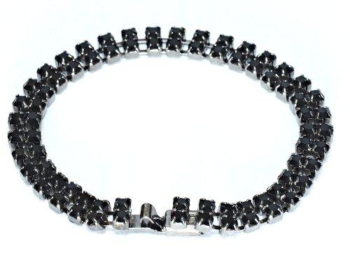 2 Row Tennis Swarovski Crystal Bracelet in Jet Plated / Jet Crystal Tennis Bracelet / Two Row Bracelet in Swarovski Crystal in Jet 165mm with Clasp in Swarovski crystal in Jet & Gunmetal Finish by Krystal London