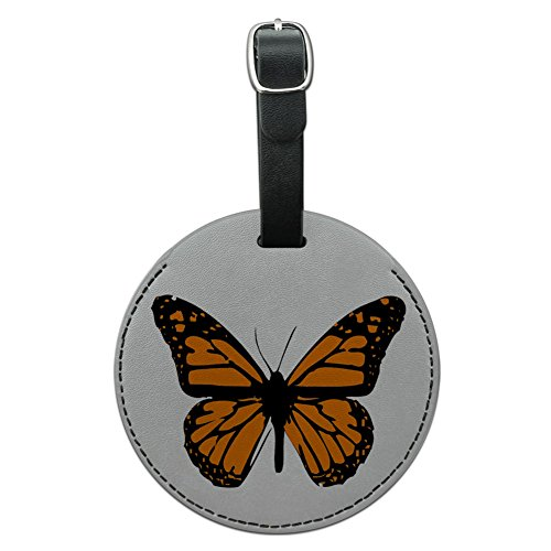 - Graphics & More Monarch Butterfly Round Leather Luggage Id Tag Suitcase Carry-on, Black