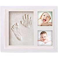 Olele Baby First Year Photo Frame - Baby Handprint&Footprint Kit Babies Memorable Keepsake Set Picture Frame with Non-Toxic Clay/Ink- Best Shower/Birth Registry Gifts for Newborn Infant