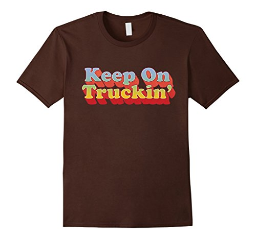 Mens Clothing 1970s - Mens Seventies Shirts: Keep On Trucking Retro Vintage 70s T-Shirt 2XL Brown