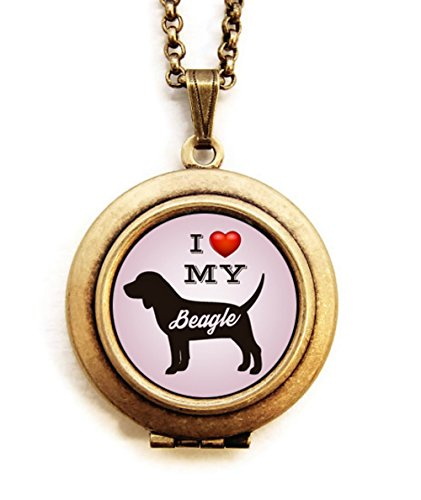 Dearest Mine Women's Brass Plated Dog Breed Silhouette Pink Petite Art Locket Necklace 18 inches (BEAGLE)