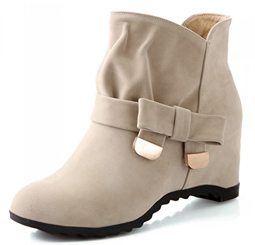 IDIFU Womens Comfy Bow Lug Sole Increased Within Martin Ankle Boots Beige