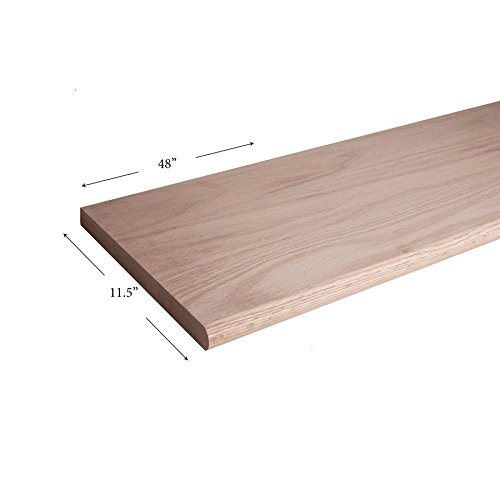 11-12 x 48 Bullnosed Stair Tread Wooden Hardwood Staircase Tread for Stair Remodel