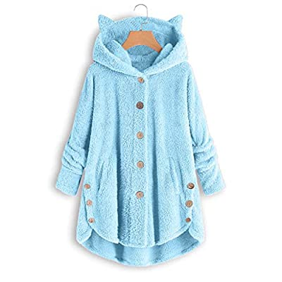 Meikosks Women's Plush Tops Plus Size Loose Sweater Solid Button Coat Cat Ears Hooded Pullover: Clothing
