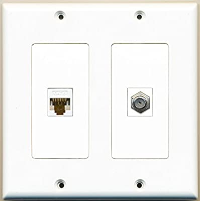 RiteAV - 1 Port Coax Cable TV- F-Type 1 Port Cat6 Ethernet Dual Gang Wall Plate