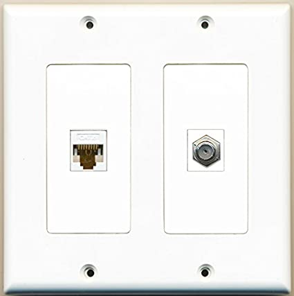 2 Gang Wall Plate 3 Port Cat6 Ethernet White RiteAV