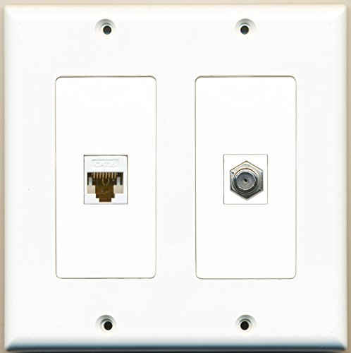 RiteAV - 1 Port Coax Cable TV- F-Type 1 Port Cat6 Ethernet Dual Gang Wall Plate - White (Double Gang Coax Wall Plate)