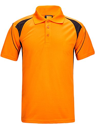 rt,Men's Polo Shirt Short Sleeve Sports Golf Tennis Stitching T-Shirt Orange US S/Label L ()