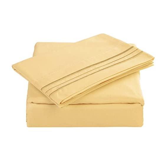 "Maevis Bed Sheet Set-1800 Double Brushed Microfiber Bedding - Deep Pocket- Wrinkle, Fade, Stain Resistant - Hypoallergenic - 4 Piece (Gold, Cal King) - * ELABORATELY SELECTED MATERIAL: Ultra durable and high density 300TC 105gsm microfiber with the newest spinning techniques that makes the sheet stain resistant, warm, breathable and hypoallergenic. Also softer and silkier at the same time. * California King Size Luxury 4 piece Bed Sheets Set - 1 flat sheet 108""x102"", 1 fitted sheet 72""x84""x14"", 2 pillowcases 20""x40"".Fitted sheet has 14 inch deep pocket with elastic all around (not just the corners, like other sheets). Fits mattresses up to 14"". * HIGHEST QUALITY & EXQUISITE DESIGN-Made of ultra high quality and soft brushed microfiber and elegant in workmanship, you know IT LASTS! The exquisite design applies to any decoration style and the fabulous selection of colors and will make your bedroom look like it belongs in a magazine! - sheet-sets, bedroom-sheets-comforters, bedroom - 41%2Bf oIVylL. SS570  -"
