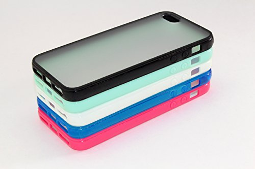 iPhone 5 SE Case, Wholesale 5pcs/lot 5 Colors Soft Trim High Clear Back Hard Cover Bumper Case Skin for iPhone SE 5 5S (Black, Green, White, Blue, Pink) from EZstation