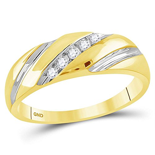 (Sonia Jewels Size 13-14k Yellow Gold Mens Round Diamond Two-Tone Single Row Wedding Band Ring (1/10 Cttw))