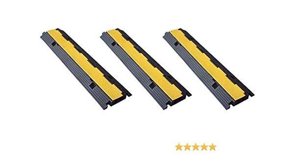 Pasacables de suelo doble via 100x25x4 cm Protector de cables de caucho de doble via 2- Protectores cable