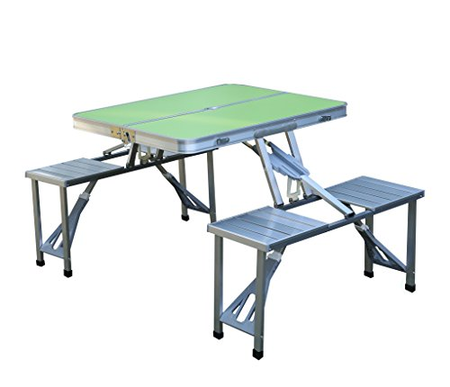 PLAYBERG QI003346G Aluminum Portable Picnic Folding Table with Two Benches, Green