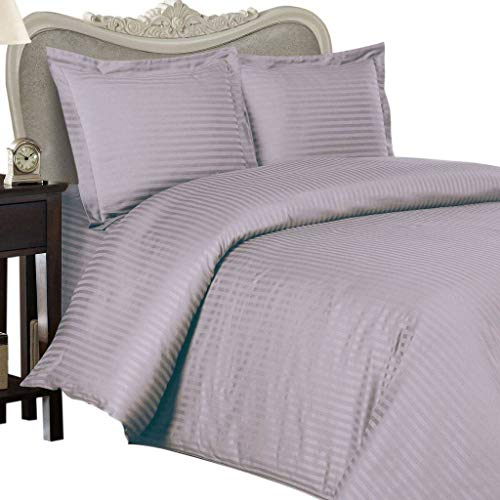 Italian 300 Thread Count Egyptian Cotton Sheet Set DEEP Pocket, King, Lavender Stripe, Premium Italian Finish ()
