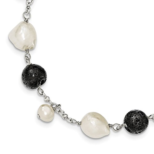 ICE CARATS 925 Sterling Silver Freshwater Cultured Pearl/black Agate/lava Rock 1 Inch Extension Bracelet 7 Gemstone Pearl Fine Jewelry Gift Valentine Day Set For Women (Cultured Pearl Gemstone Bracelet)