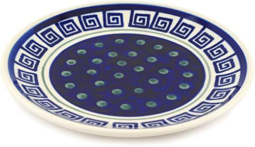 Greek Key Salad Plate - Polish Pottery 7½-inch Dessert Plate (Greek Key Theme) + Certificate of Authenticity