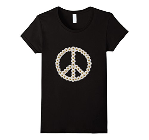 Womens Daisy Peace Sign T-Shirt Hippie Love Boho Flower Child Medium - Flower T-shirt Daisy