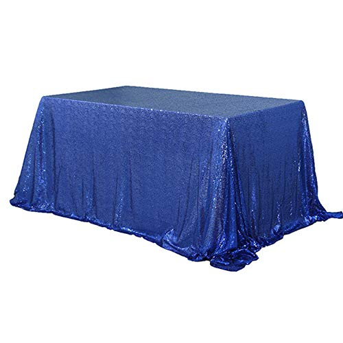 TRLYC 60 x 120-Inch Rectangular Sequin Tablecloth Navy