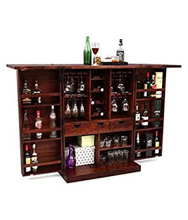 Ringabell Diamond Solid Wood Bar Cabinet (Mahogany Finish)