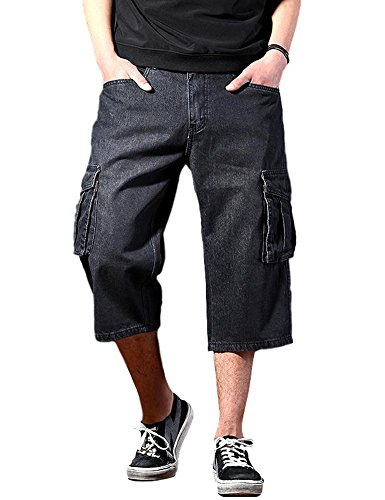 Idopy Men`s Motorcycle Loose Fit Cropped Work Jeans Denim Cargo Shorts Black 38 -