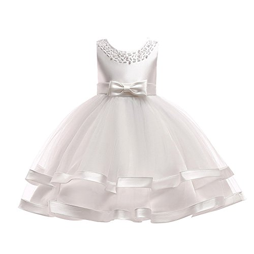 Kids Toddler Baby Girls Dresses,Sleeveless Solid Lace Bowknot Princess Party Formal Clothes 3-7 Years (Size:3T, White)