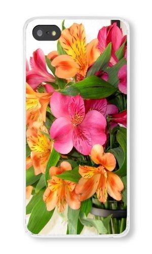 (Cunghe Art Custom Designed Transparent PC Hard Phone Cover Case For iPhone 5S With Alstroemeria Vase Phone Case)